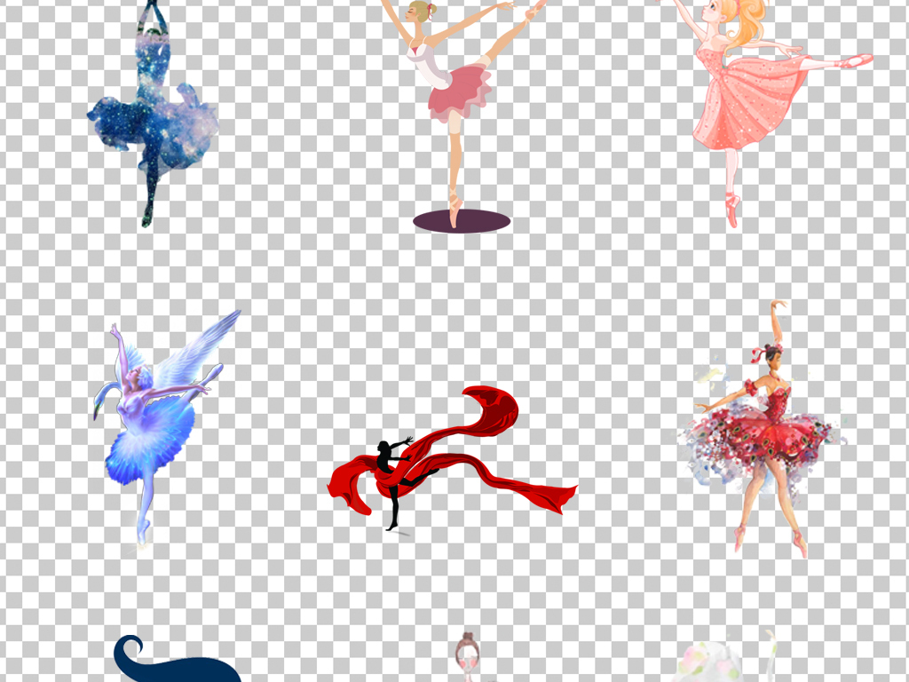 0503舞蹈插画跳舞的女孩芭蕾舞天鹅湖卡通手绘跳舞素材免抠