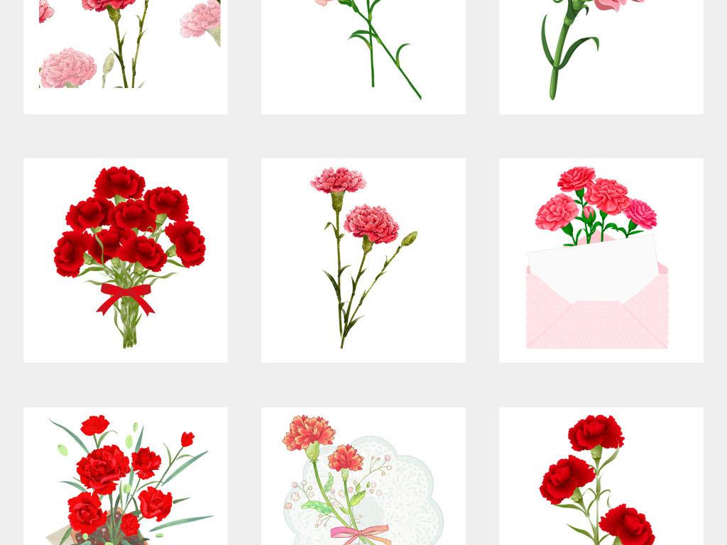 母亲节手绘康乃馨花店海报贺卡png素材