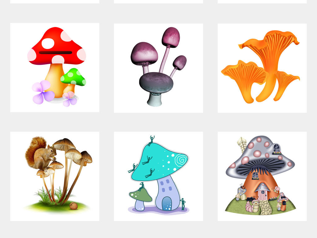 卡通手绘蘑菇森林水彩海报小报png素材