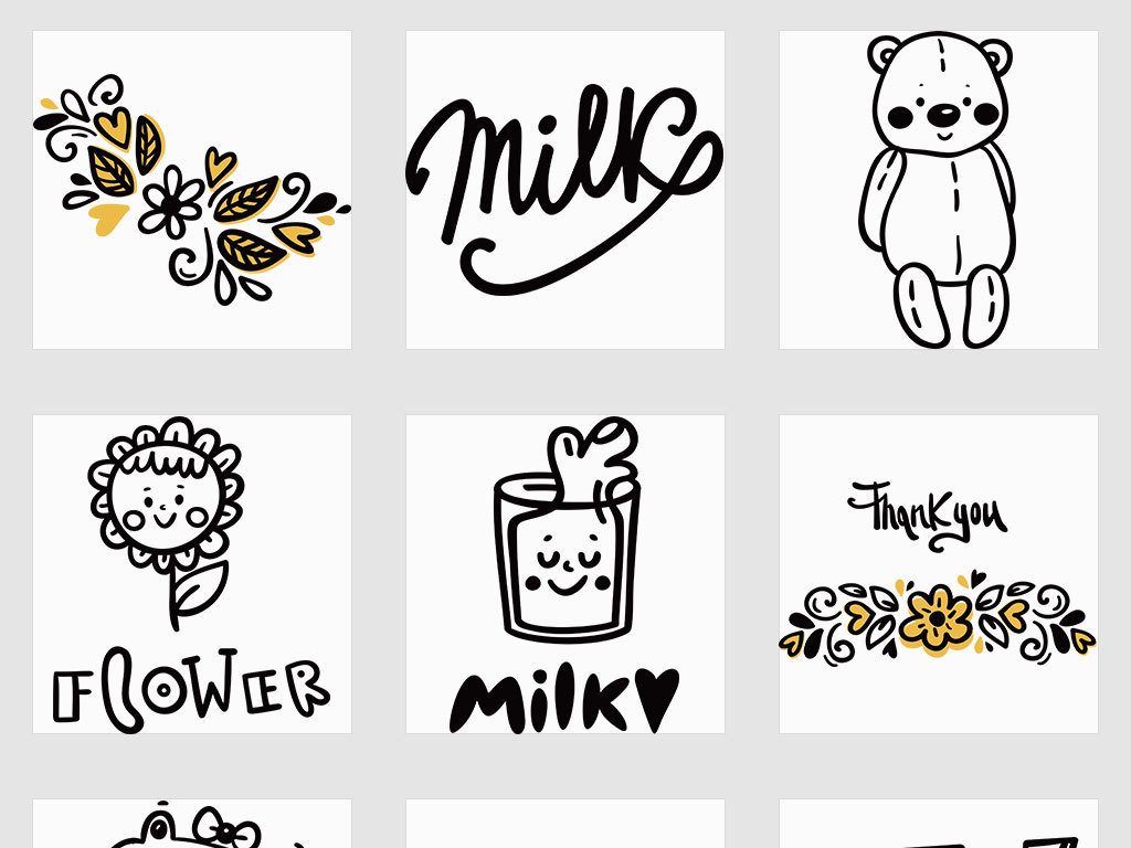 ai/独立png/幼儿园儿童卡通人物动物简笔画手账插图