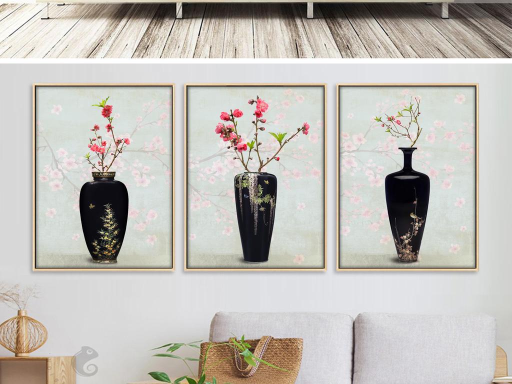 古典花卉花瓶装饰画手绘欧式