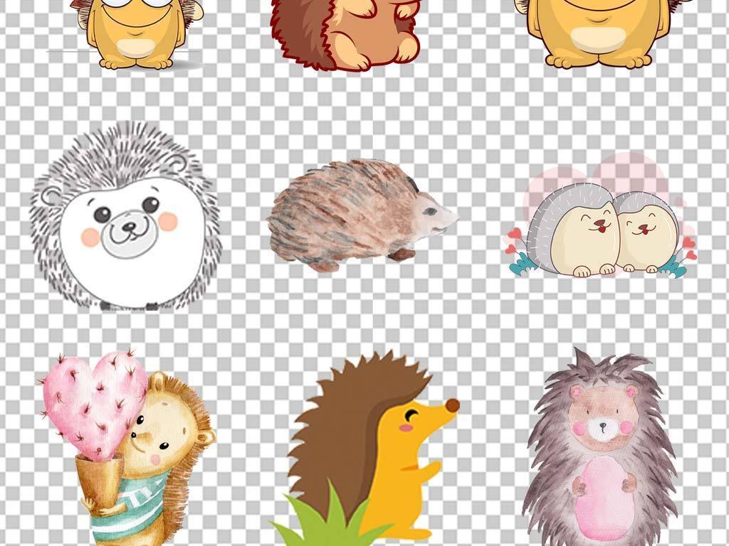 画可爱小刺猬动物世界动物园手机壳图案设计儿童画手绘动物水墨黑白