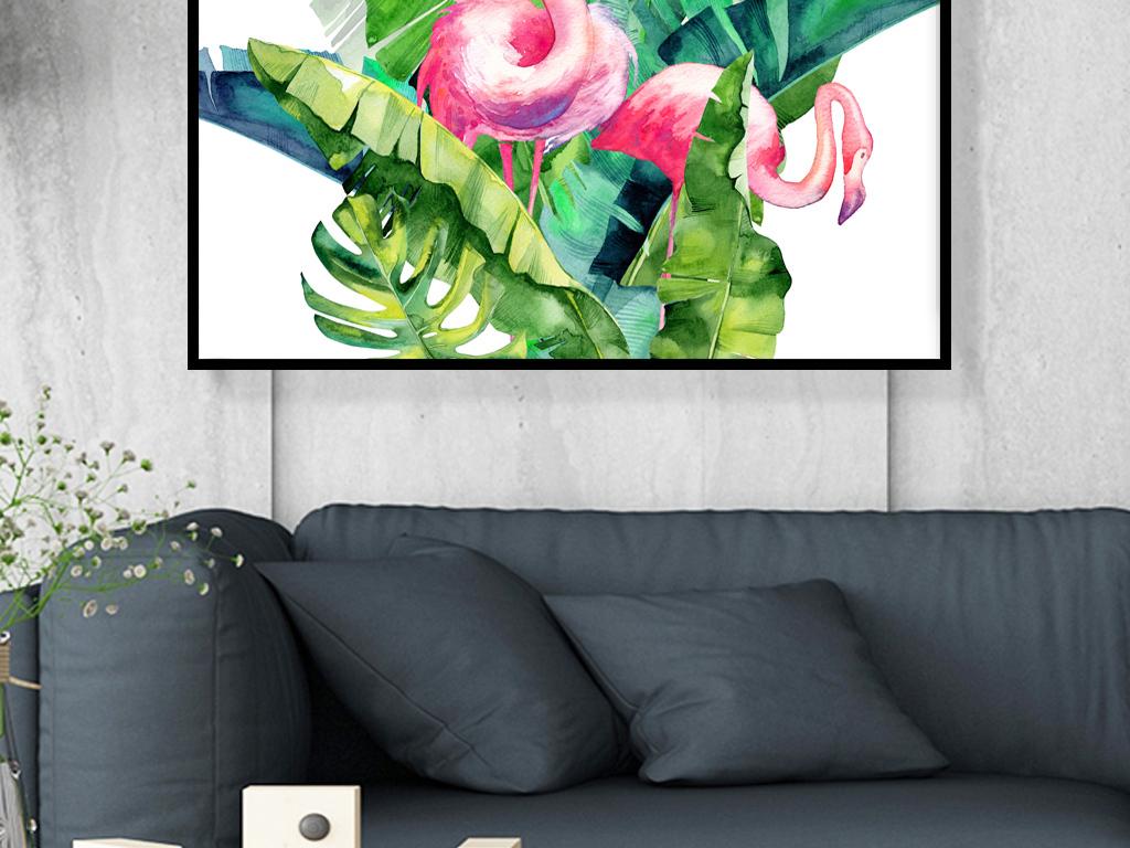 现代简约清新ins手绘植物火烈鸟装饰画