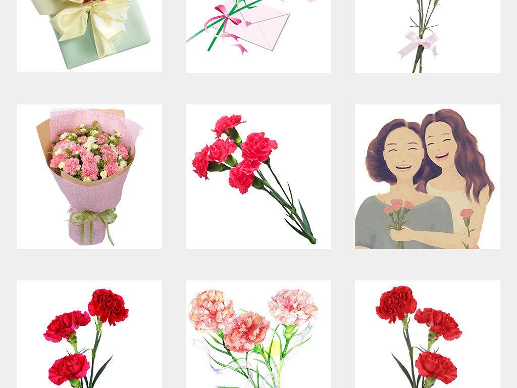 唯美手绘康乃馨母亲节康乃馨设计素材