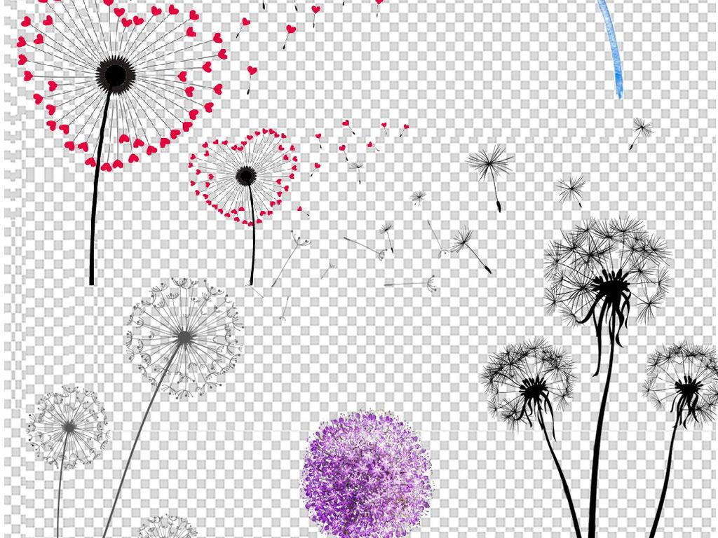 卡通手绘唯美飞舞蒲公英花卉植物png素材
