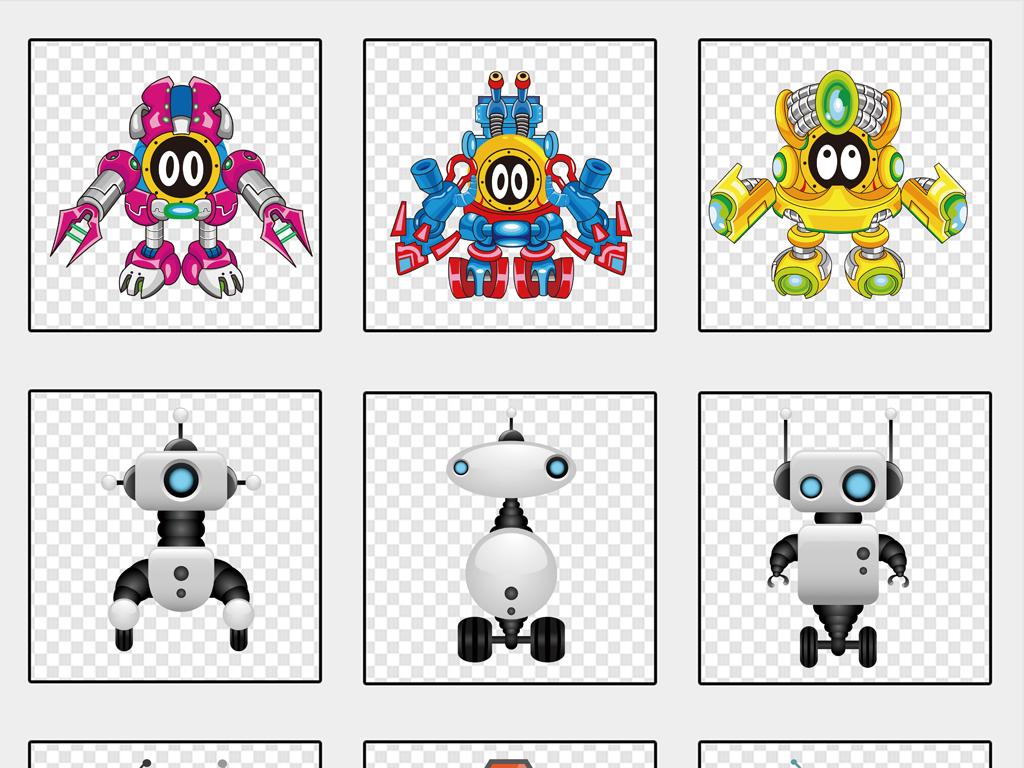 动漫手绘3d机器人png免抠素材