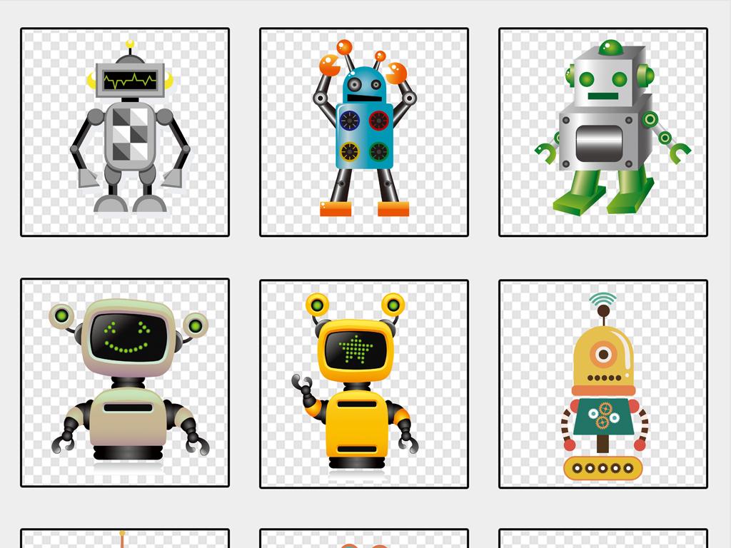 卡通机器人手绘3d新科技png免抠素材
