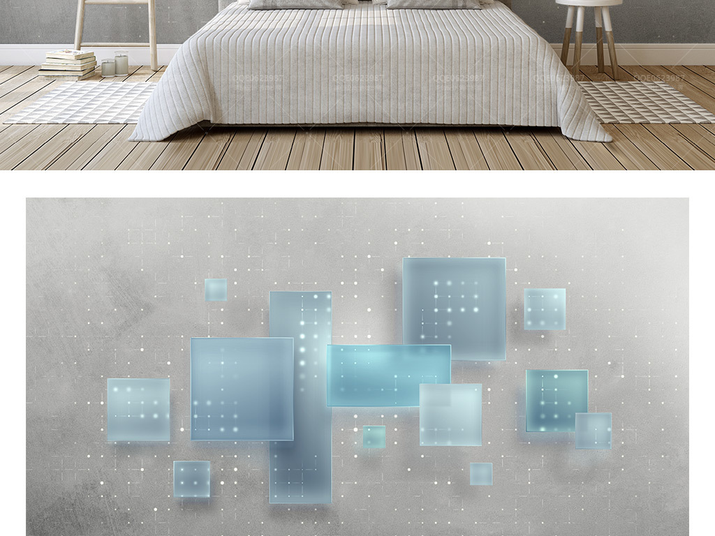 3d立体几何正方形磨砂玻璃拼接电视背景墙