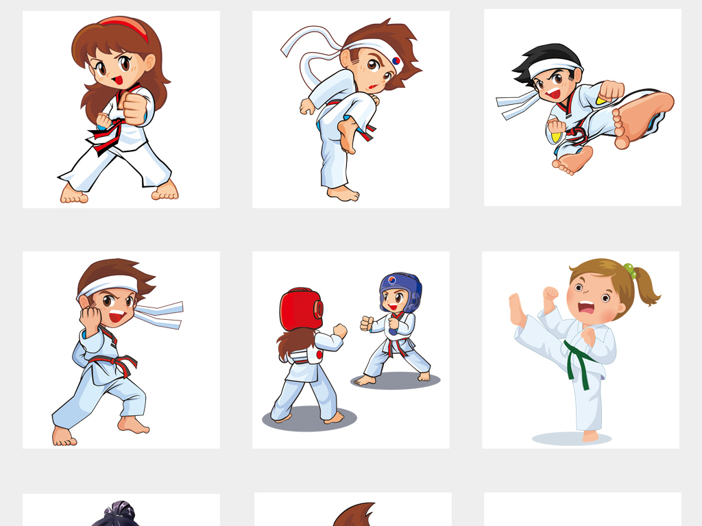 可爱卡通儿童跆拳道空手道柔道培训海报png素材