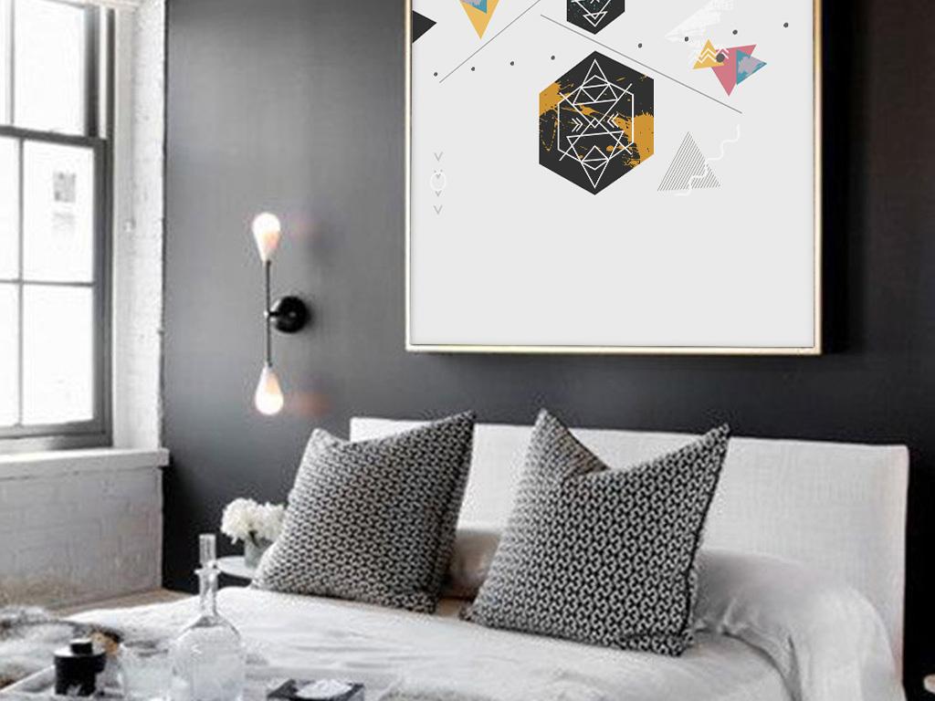 北欧风格ins小清新抽象几何创意家居挂画图片