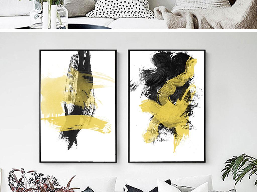 我图网提供独家现代简约手绘抽象色彩色块金色线条客厅装饰画素材下载