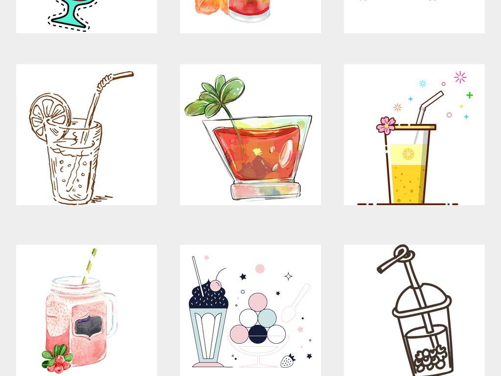 卡通手绘饮料饮品奶茶海报设计png素材