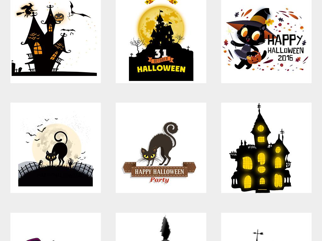 卡通手绘吸血蝙蝠万圣节古堡png免扣素材