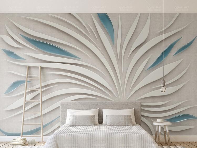 3d立体抽象花瓣玻璃布纹拼接电视背景墙