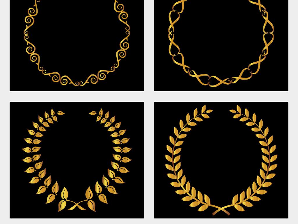 金色叶子花纹圆形边框背景免抠png素材