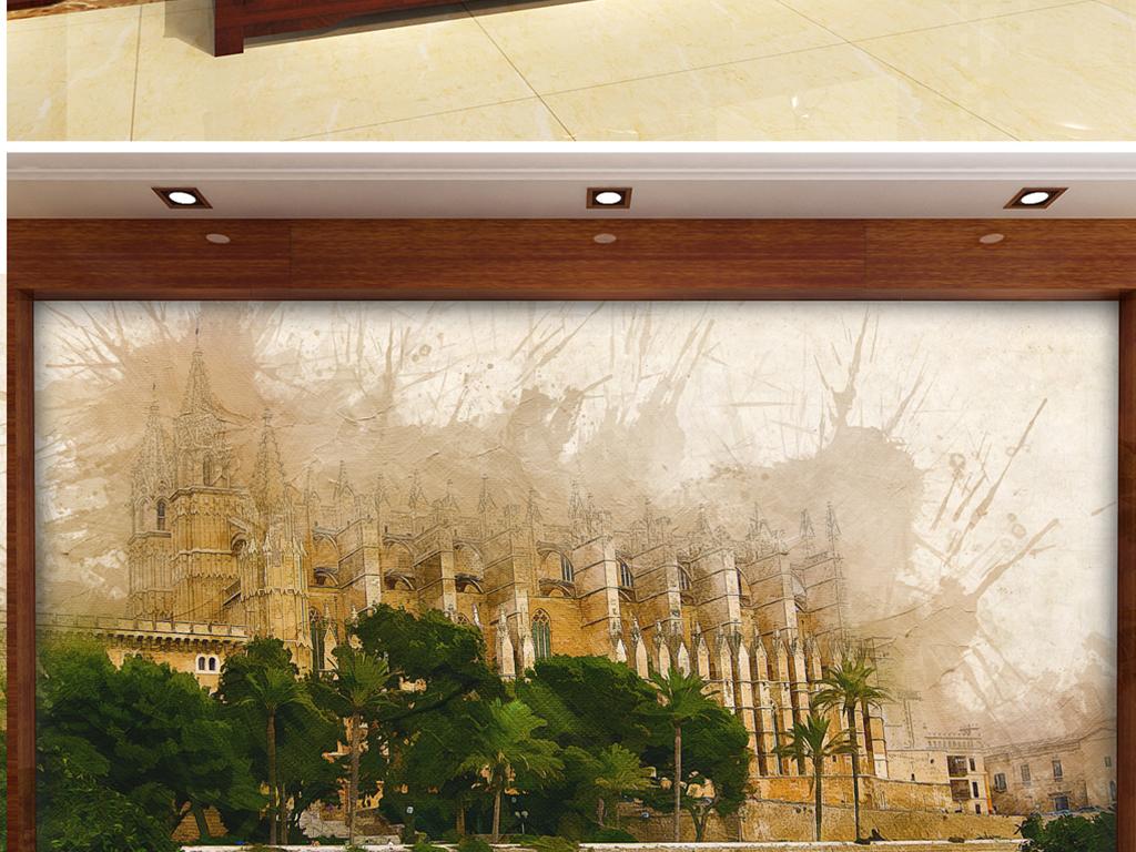 背景墙 电视背景墙 电视背景墙 > 手绘水彩抽象皇宫  素材图片参数