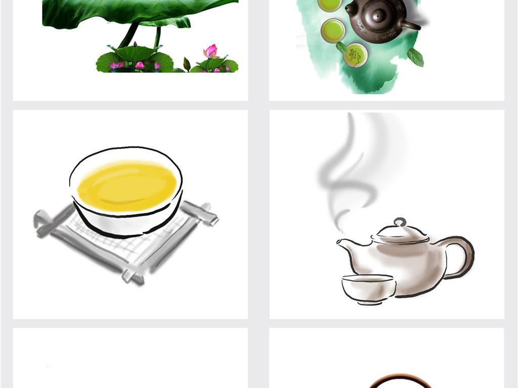 中国风茶壶茶叶茶字茶具茶园