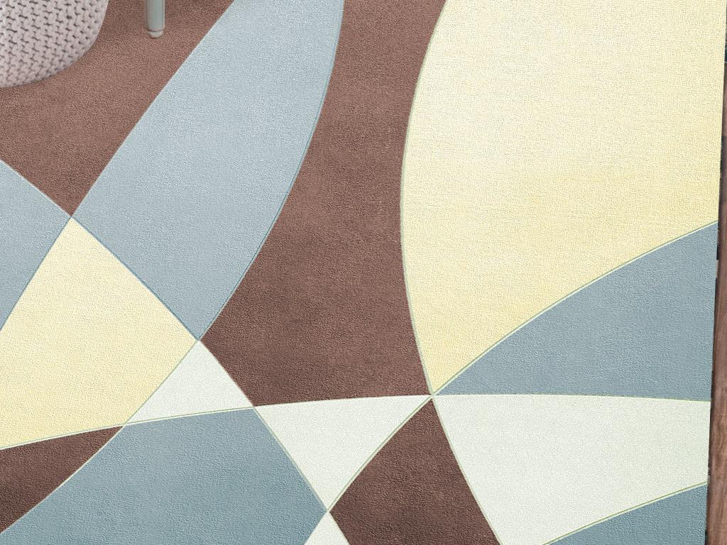现代北欧简约3d立体几何地毯图案设计图片