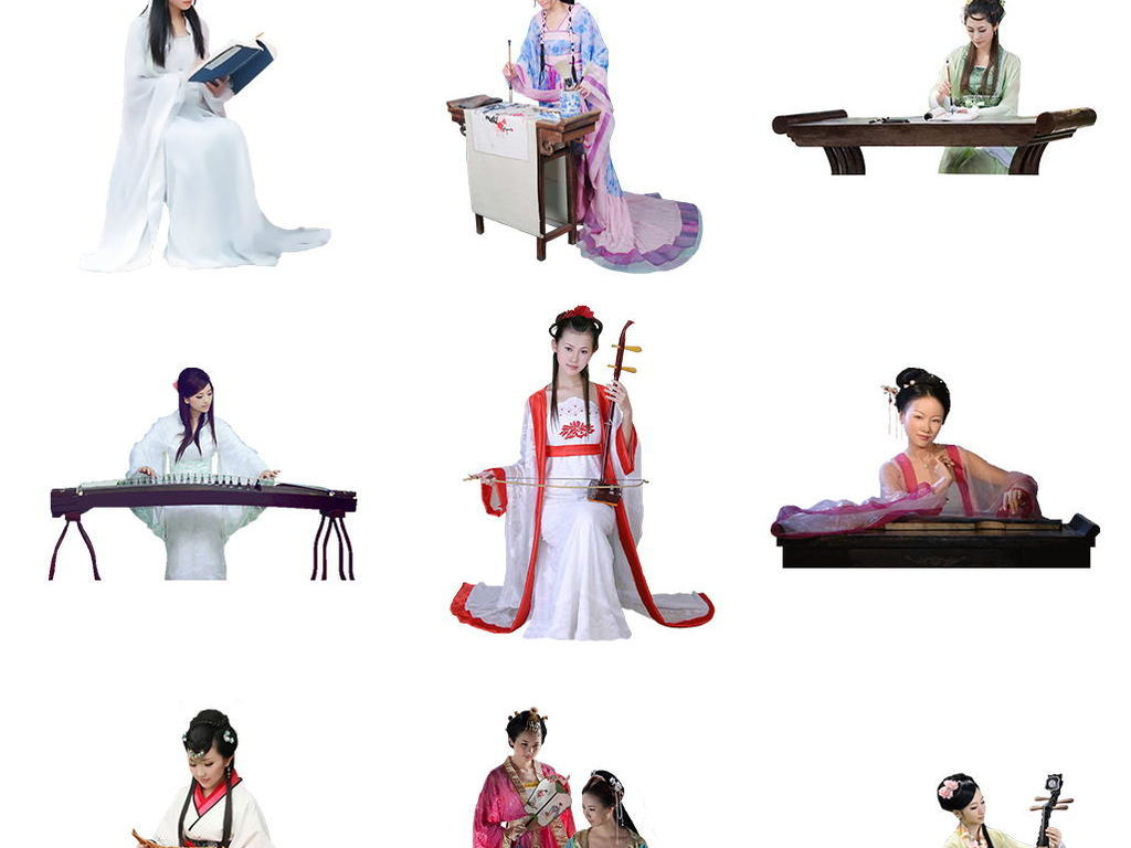 古筝古琴琵琶古风美女仙侠人物png素材图片 模板下载 31.20MB 美女
