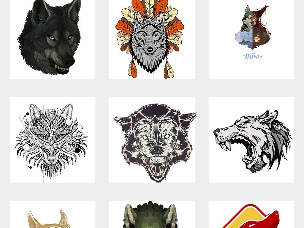 狼头卡通手绘狼人动物狼头图片海报素材