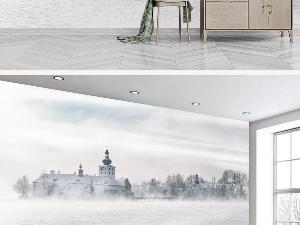 手绘欧式城市建筑海景背景墙