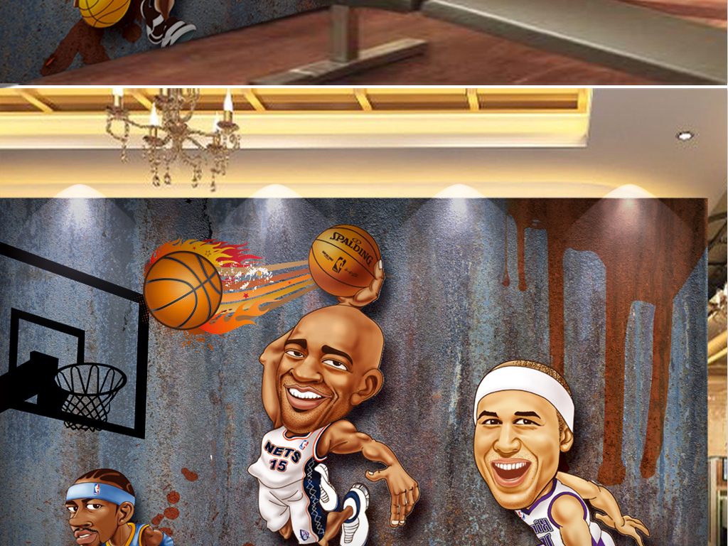 3d动漫手绘篮球运动员工装背景墙