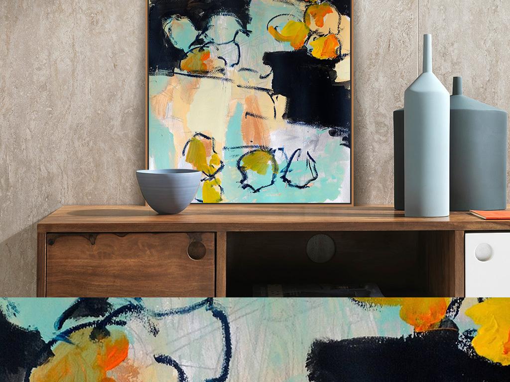 黄色褐色色块涂鸦抽象装饰画