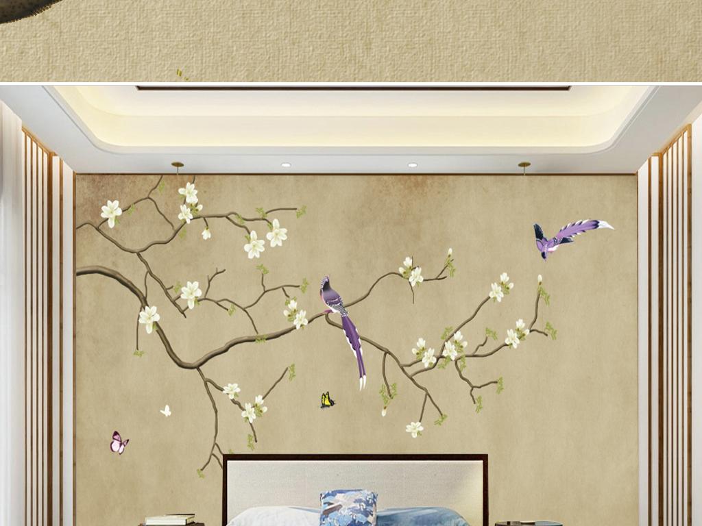 背景墙|装饰画 无框画 中国风无框画 > 手绘新中式工笔花鸟复古背景墙