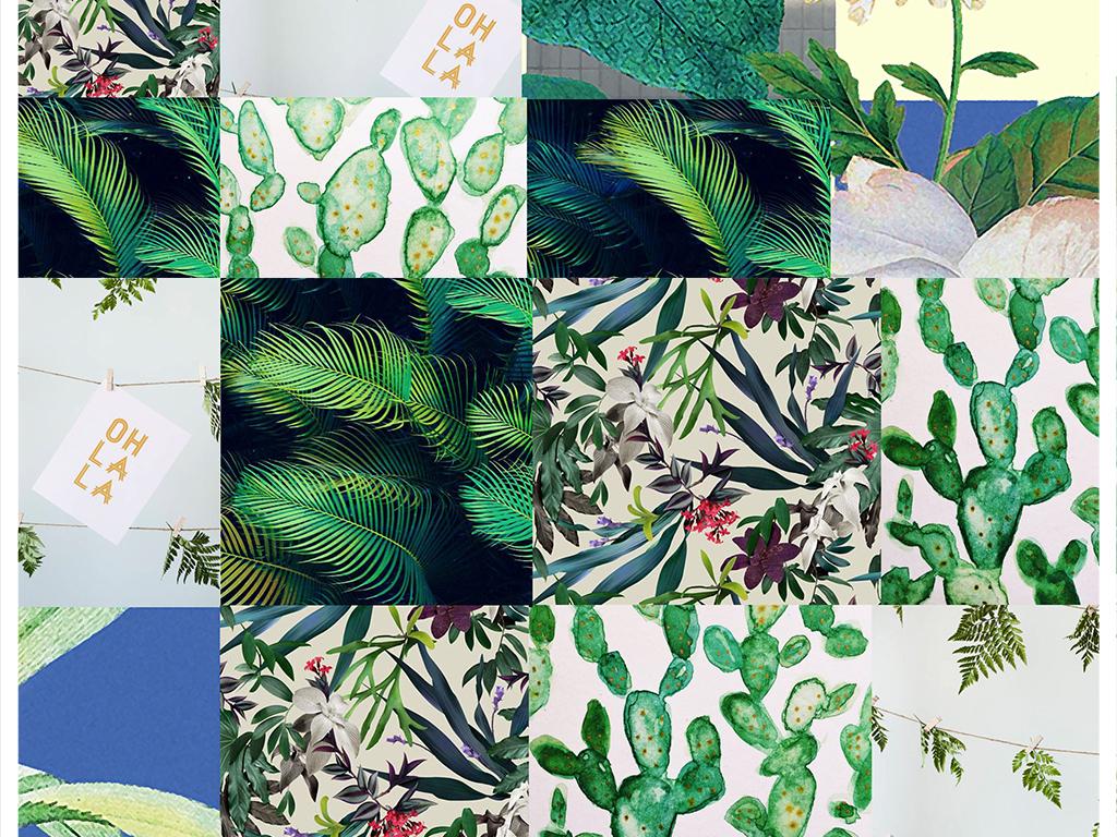 产品图案设计 家纺家饰图案 植物花卉图案 > 北欧风背景墙  素材图片图片