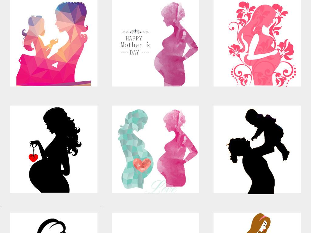 50款卡通手绘母婴人物剪影png免扣素材
