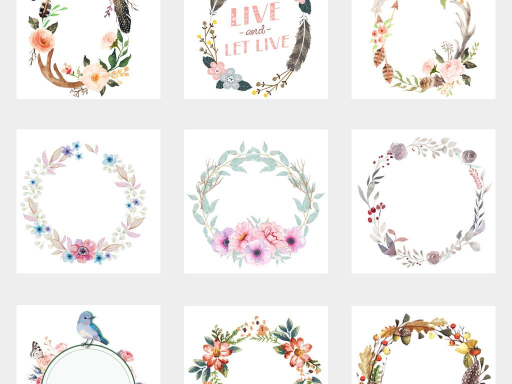 50款高清手绘森系羽毛花朵花卉花环花边花纹圆形边框