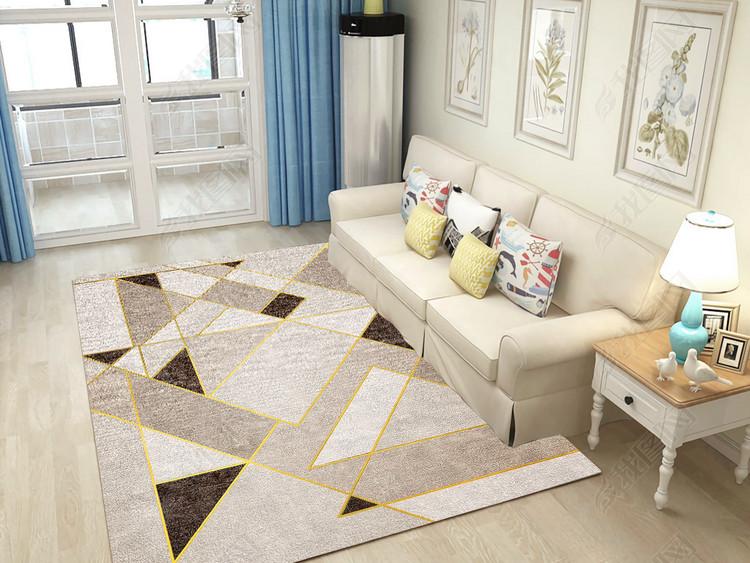 现代北欧简约大气复古几何地毯图案设计