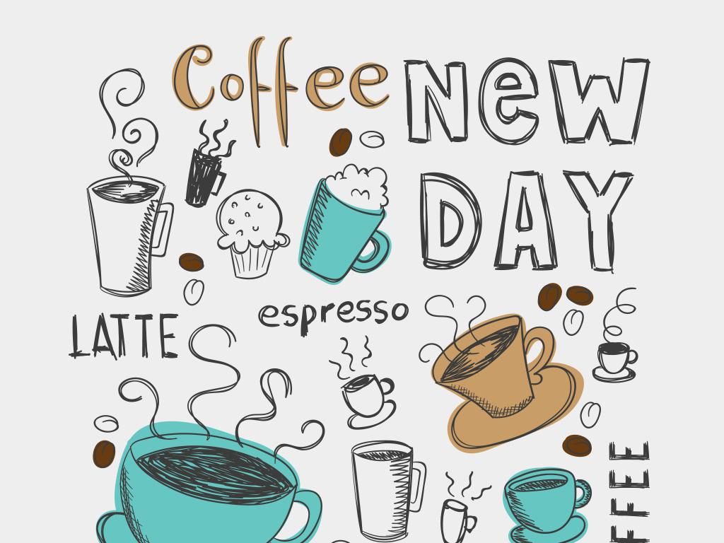 2018时尚复古手绘咖啡店插画矢量素材