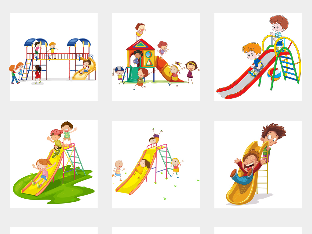 儿童乐园滑梯水上游乐园卡通游乐场海报素材图片