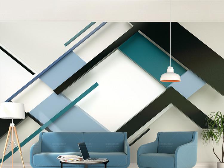 时尚几何方块线条拼接3d立体电视背景墙