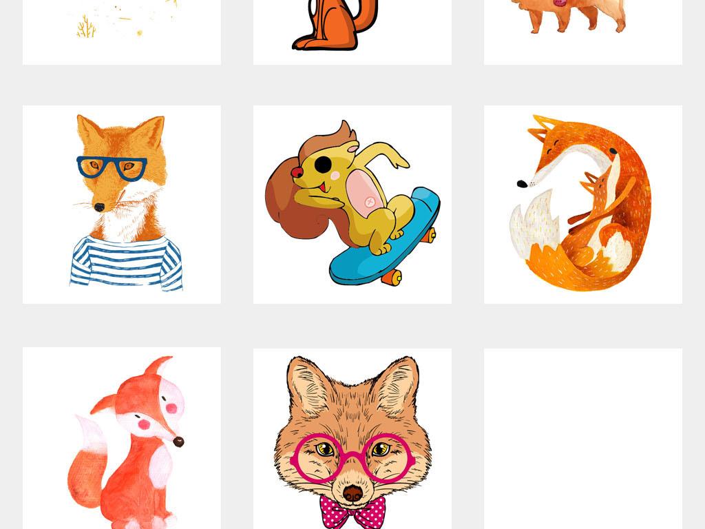卡通狐狸小报幼儿园动物贴纸海报png素材