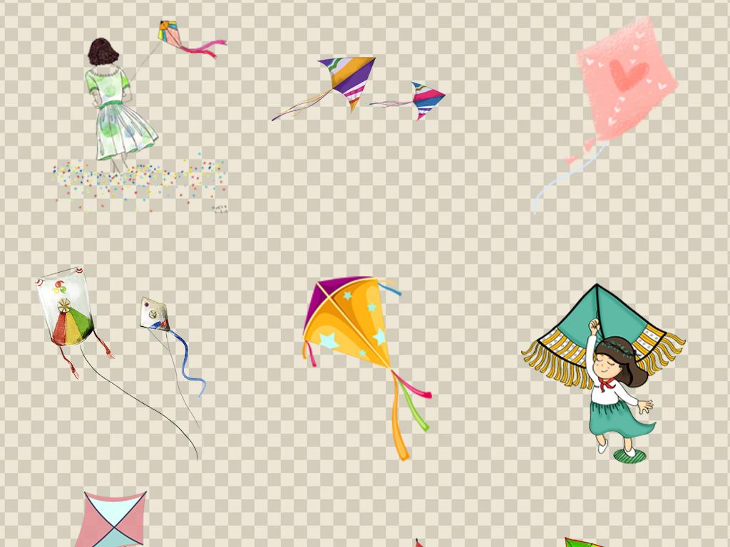 0517风筝踏青放风筝卡通手绘风筝燕子蝴蝶各种造型的风筝素材免抠