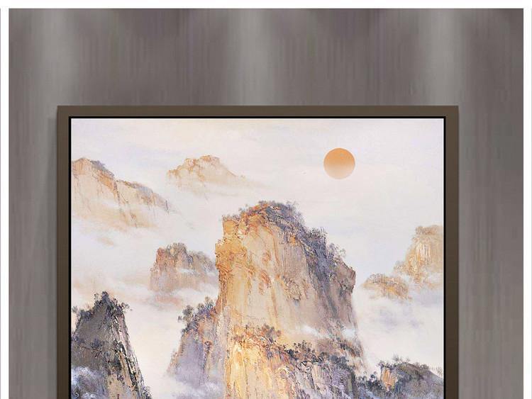 手绘油画风景山水欧式客厅玄关装饰画
