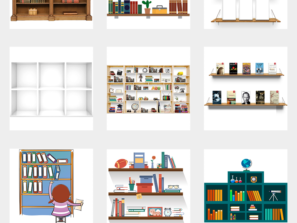 卡通图书馆卡通书架展架海报素材背景png图片
