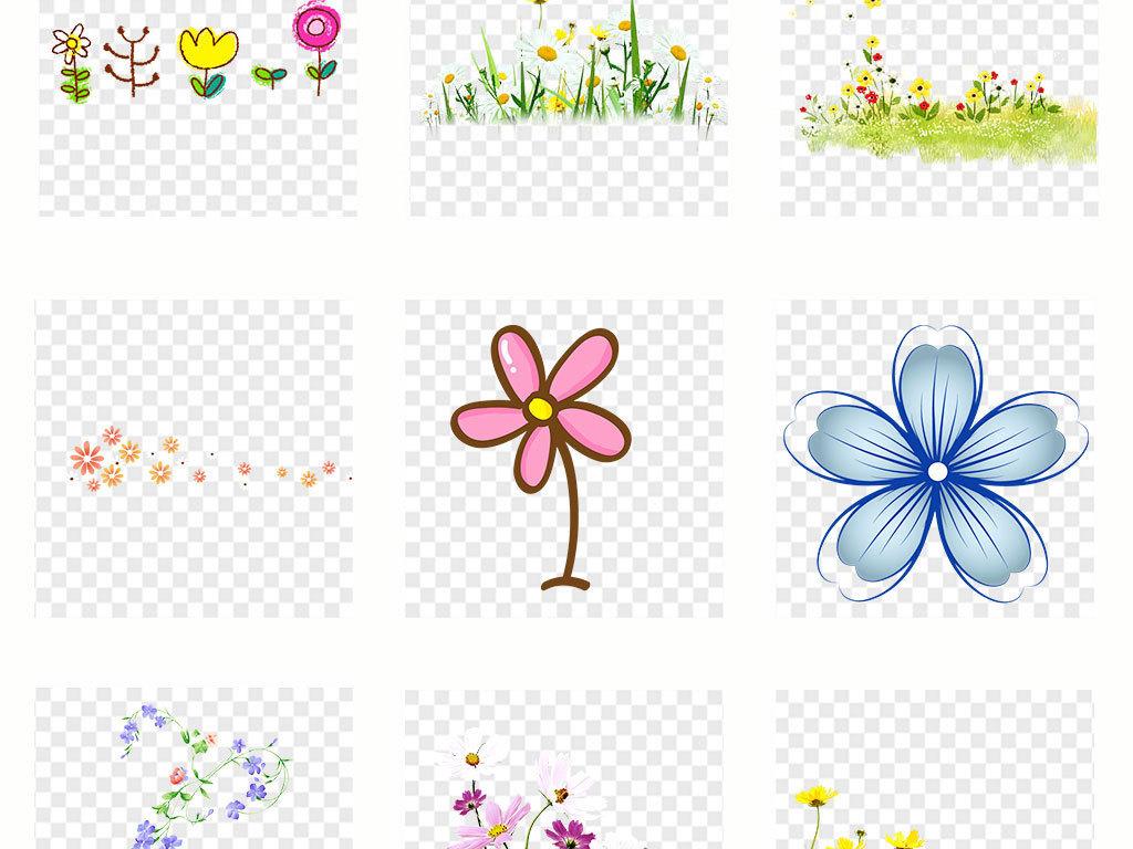 卡通手绘小花小草卡通花草植物边框png素材图片
