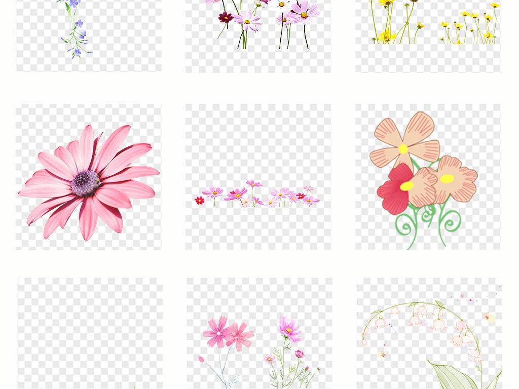 卡通手绘小花小草彩绘风车边框png素材