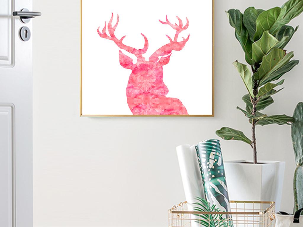 动物装饰画 > 简约北欧风手绘森林麋鹿小清新装饰画无框画  素材图片