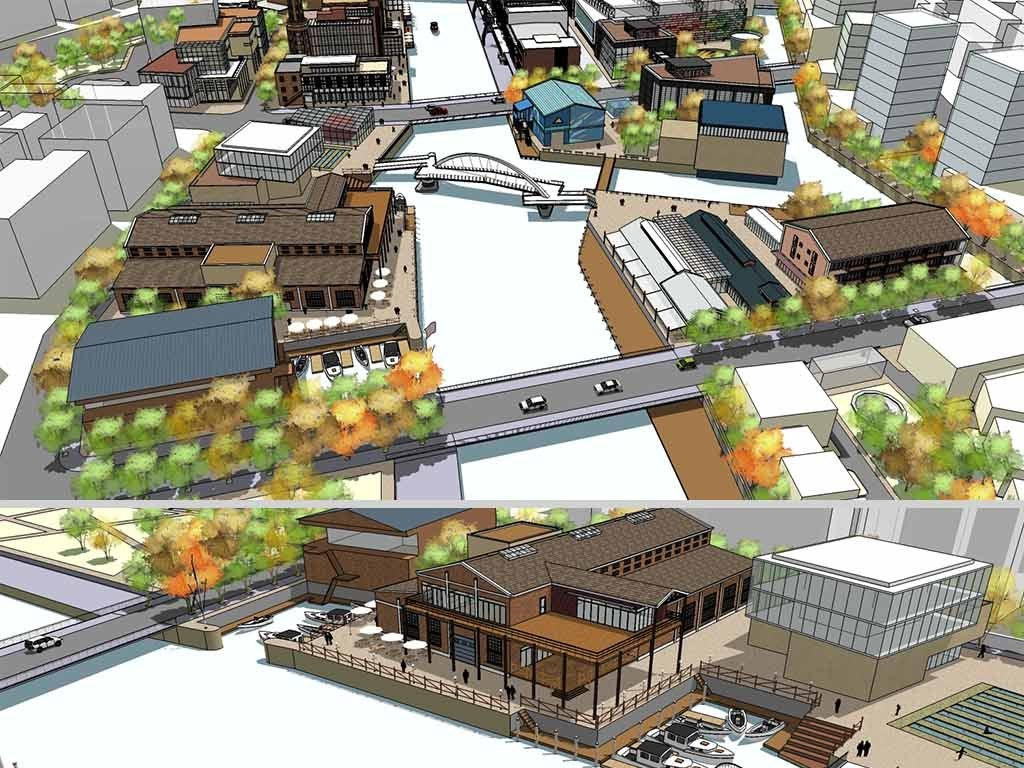 现代老厂房区域改建景观规划设计su模型