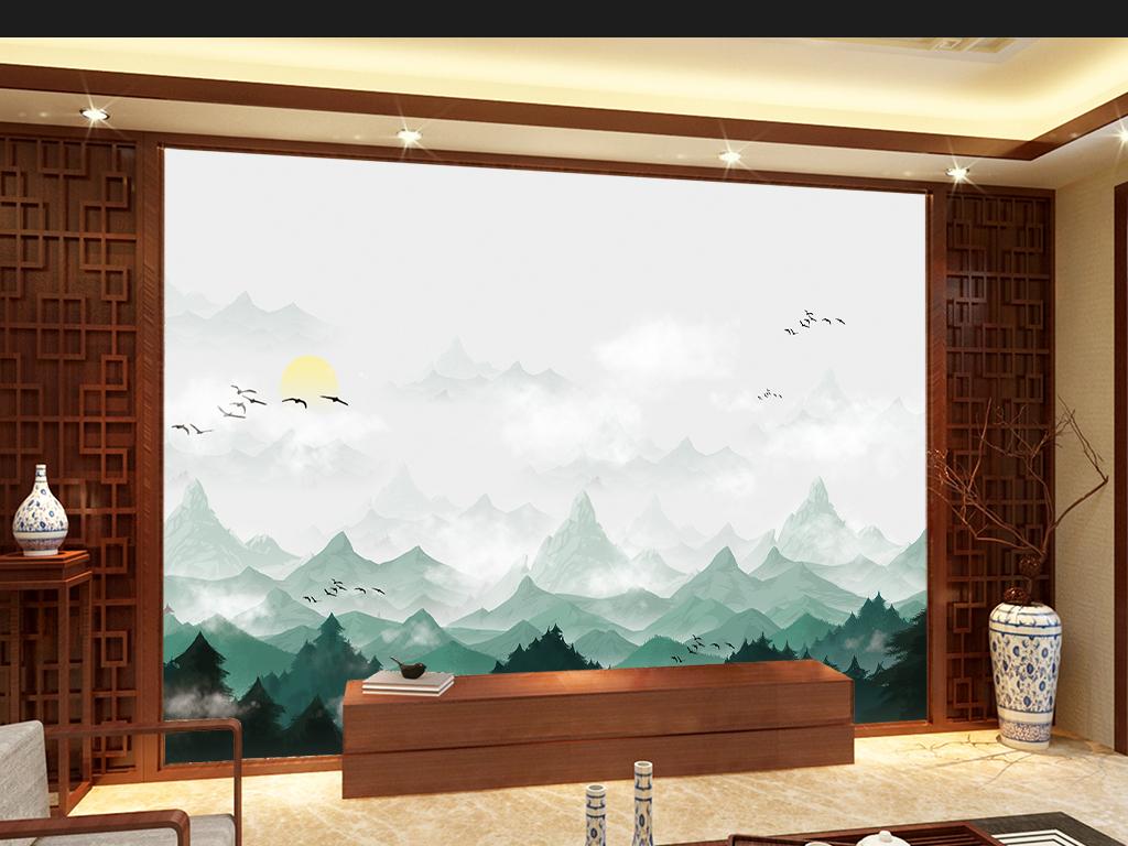 中国风手绘山水意境电视背景墙