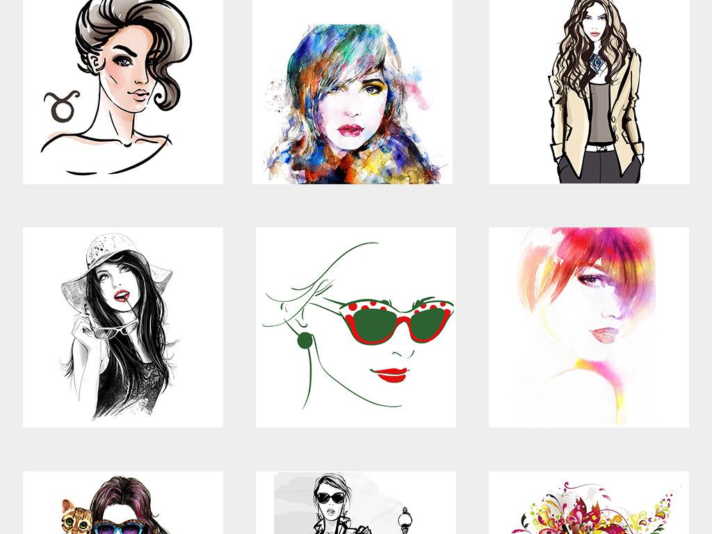 卡通手绘彩绘时尚美女png素材集合图片_模板下载(76.