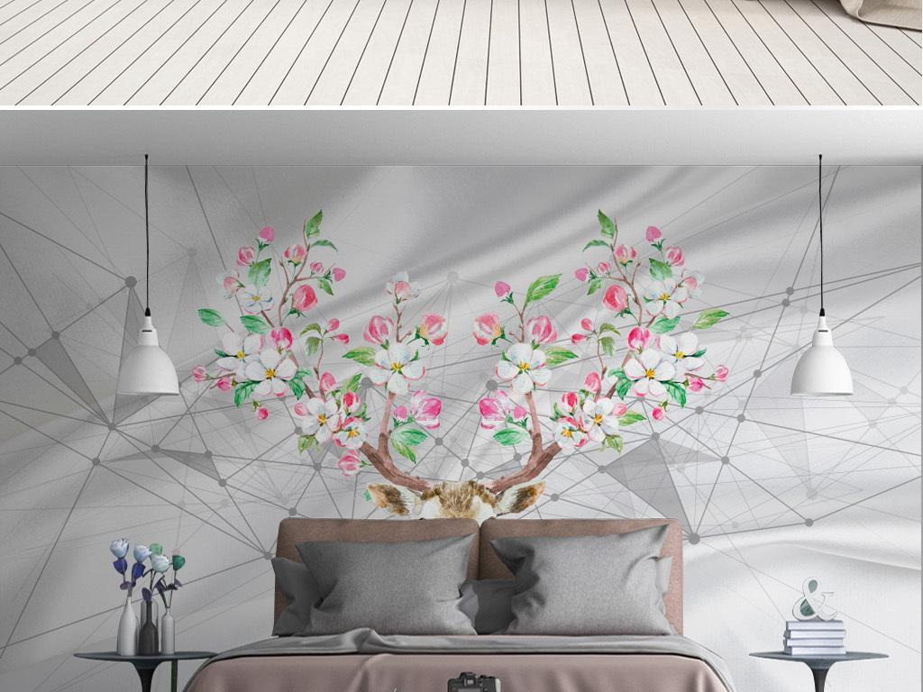 美式简约时尚手绘麋鹿头丝绸电视壁画背景墙