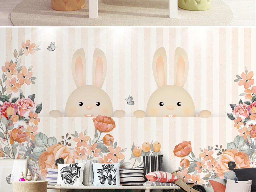 分层儿童房背景墙北欧简约手绘卡通兔子壁画