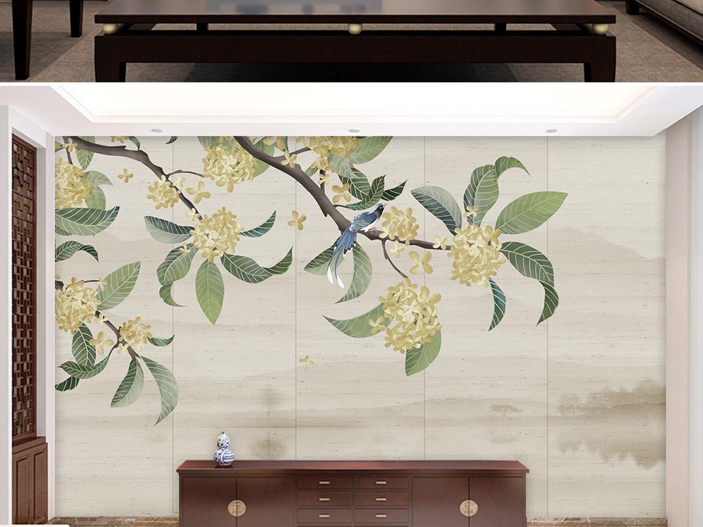 新中式手绘工笔花鸟山水背景墙