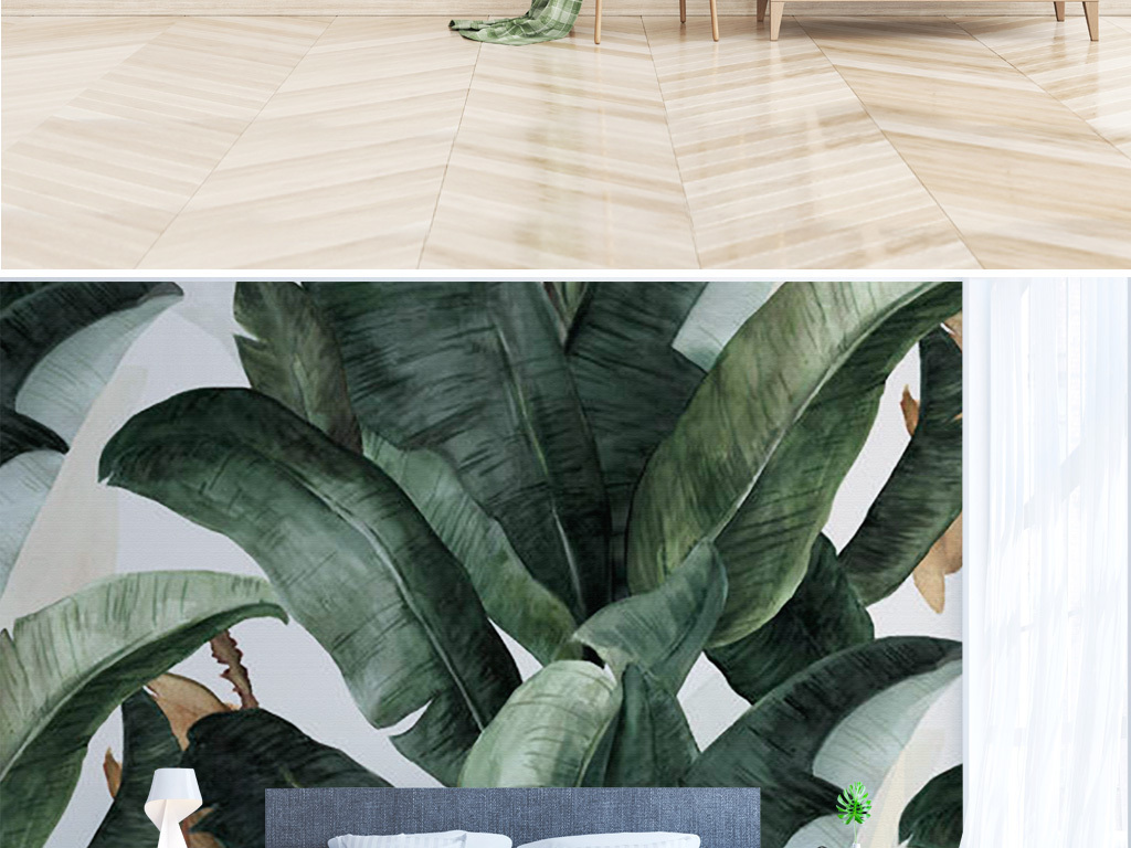 北欧简约手绘热带植物ins装饰背景墙图片设计素材_(.