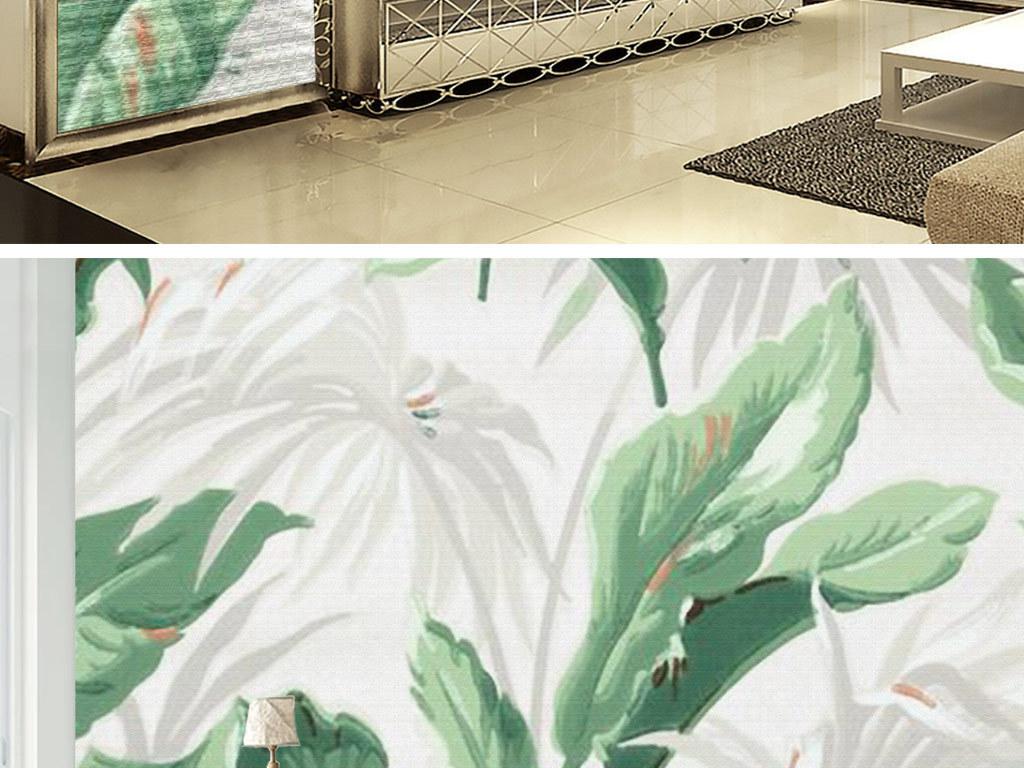 热带植物手绘花卉清新绿色植物ins背景墙